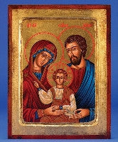The Holy Family - Hand Painted - GOLD LEAF - Beautiful Catholic Gifts
