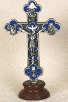 "6"" Blue Enameled Cross on Base - Beautiful Catholic Gifts"