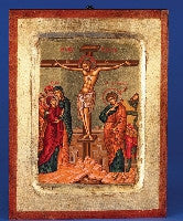 The Crucifixion - Hand Painted - GOLD LEAF - Beautiful Catholic Gifts
