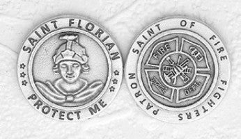 Saint Florian | Fire Fighter Token - Silver Plated (pack of 10) - Beautiful Catholic Gifts