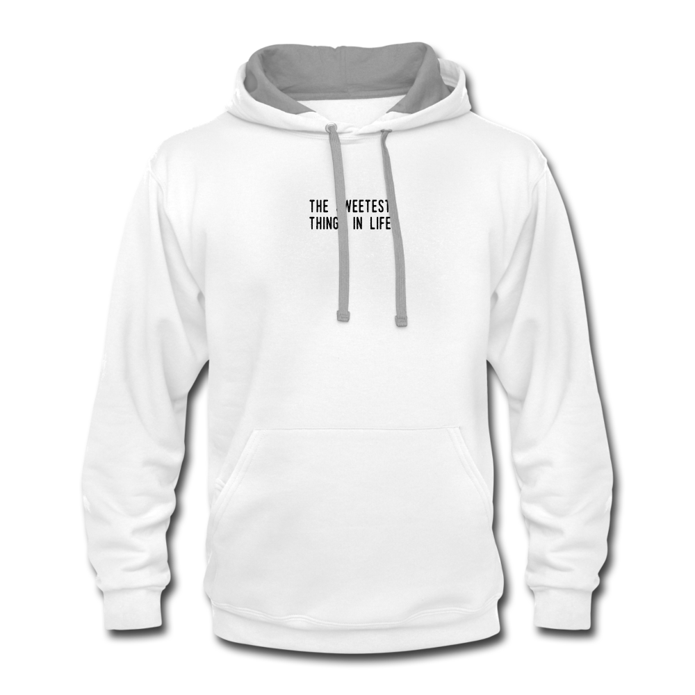 """The Sweetest Things In Life"" Contrast Hoodie - white/gray"