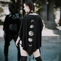 Spring Black Capes Coat Vintage Moon Print Gothic Loose Women Batwing Duplex Shawl Long Sleeve Cape Female Outerwear