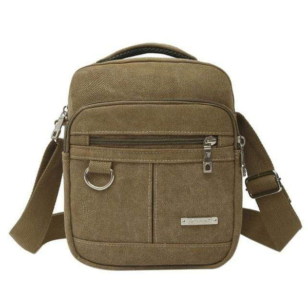 Fashion Men Bag Canvas Zipper Shoulder Bag High Quality Messenger Bags Black Khaki Brown Color Handbag Travel Bolso Hombre Bolsa Type A Khaki / France MaBesacePasCher.fr