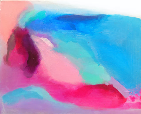 Pink, purple, blue and turquoise acrylic abstract art