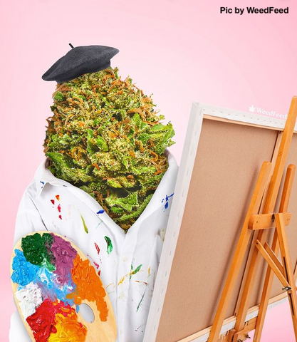 Cannabis flower wearing a white coat and black beret painting a colorful picture
