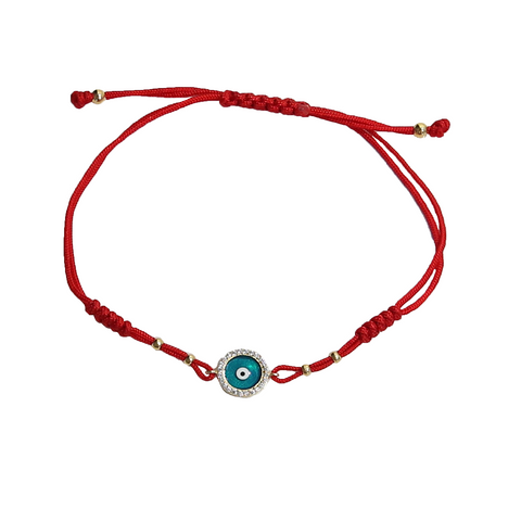 Enamel Evil Eye Bracelet on Red Cord