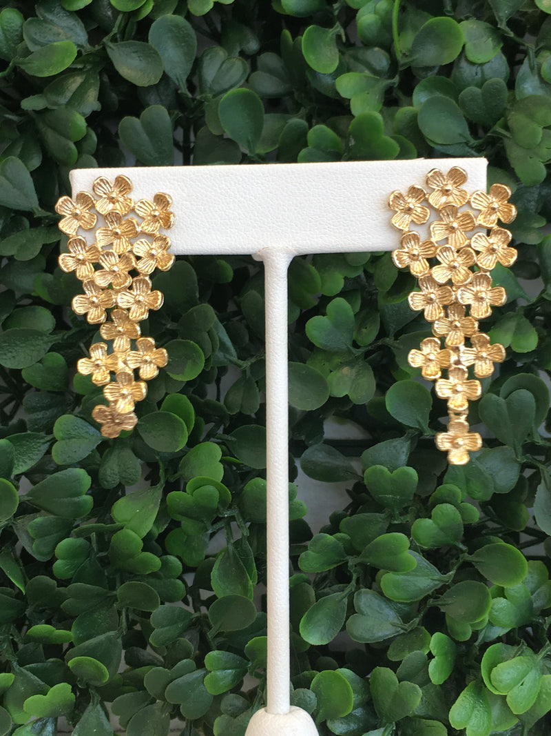 Daisy Drop Gold Earrings