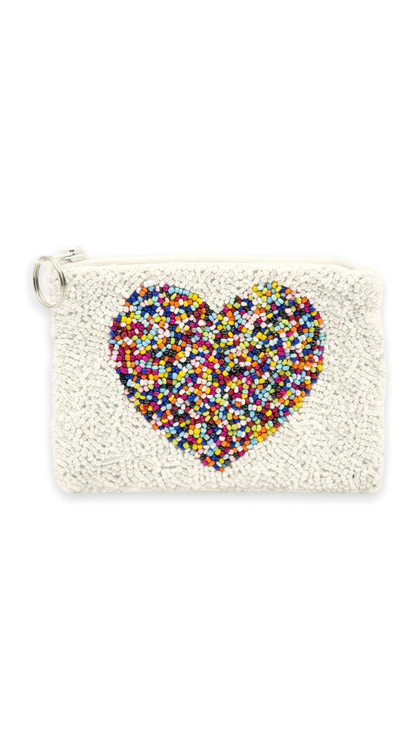 Heart Beaded Coin Purse