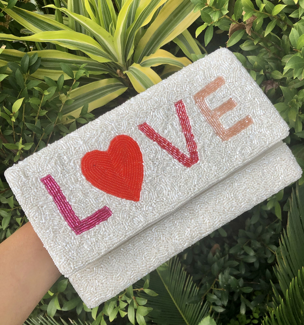 LOVE Beaded Clutch