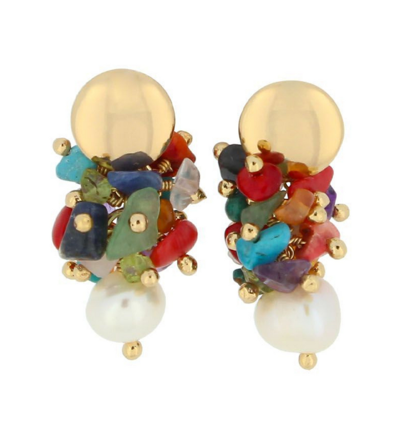 Gemstone Cluster Earring