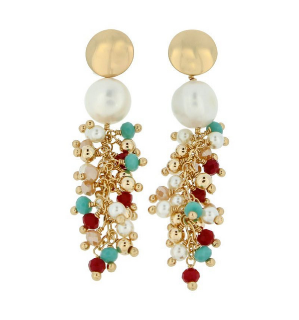 Gem Cluster Earring Long