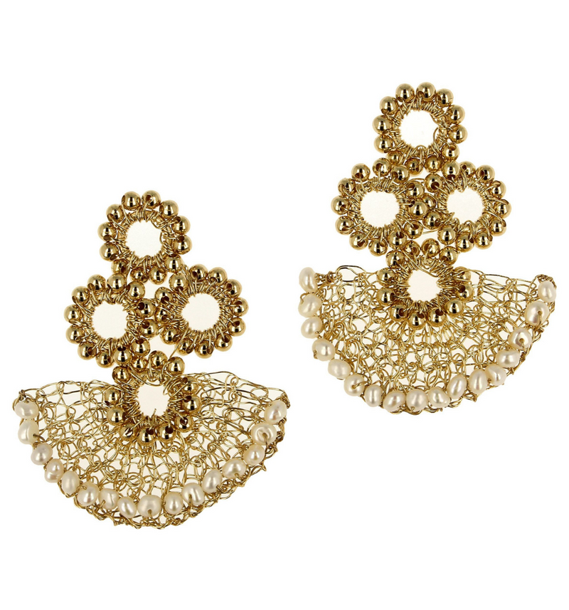 Camila Gold Lace Earrings Short