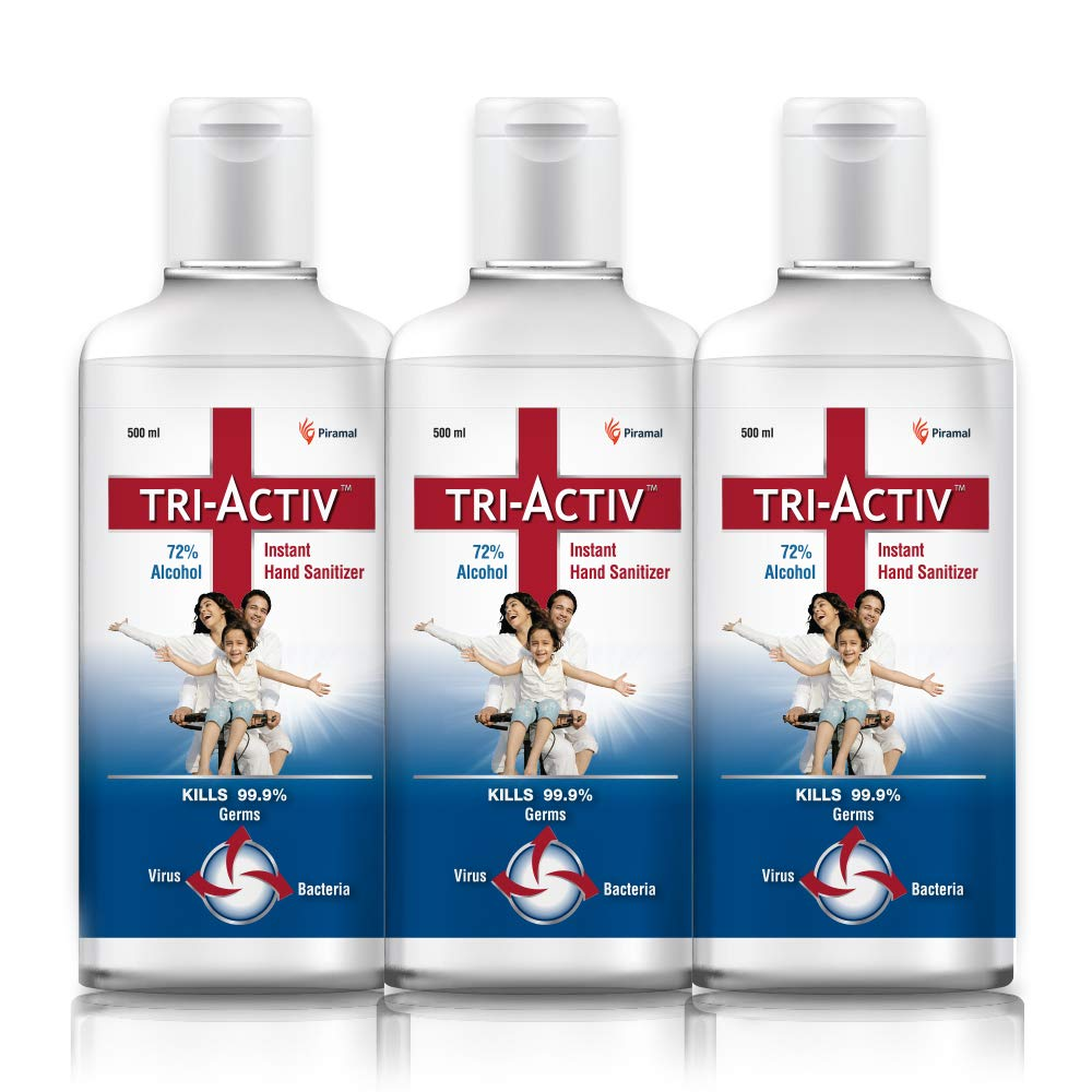 Tri-Activ 72% Alcohol Based Instant Hand Sanitizer – (500 ml)- Pack of 3