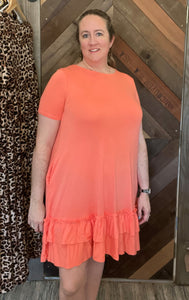 SHORT SLEEVE CORAL ZENANA SUN DRESS- PLUS ONLY