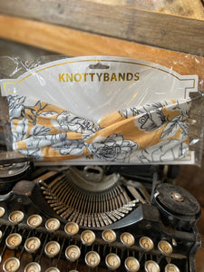 KNOTTYBANDS MUSTARD AND WHITE FLORAL HEADBAND