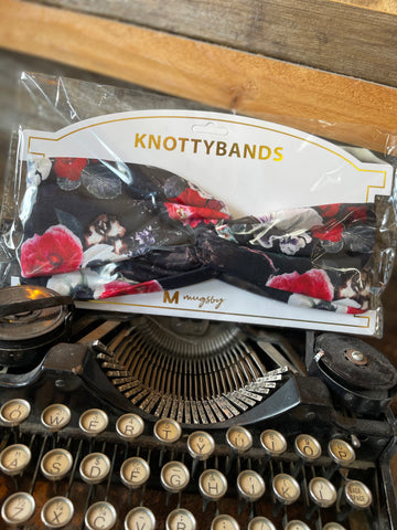 KNOTTYBANDS BLACK WITH RED AND WHITE FLORAL HEADBAND