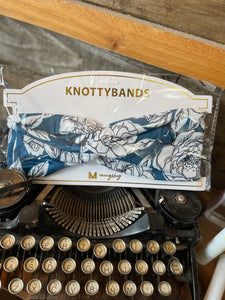 KNOTTYBANDS TEAL AND WHITE FLORAL HEADBAND