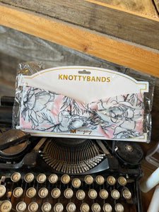 KNOTTYBANDS LIGHT PINK AND WHITE FLORAL PRINT HEADBAND