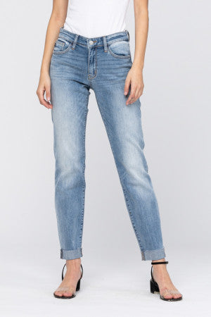 JUDY BLUE BOYFRIEND CUT CUFFED DENIM JEAN REG/PLUS
