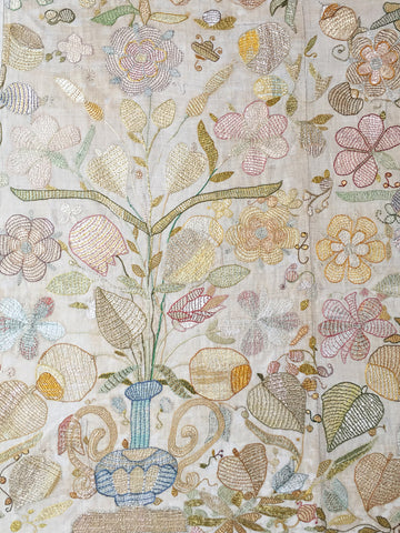 17th century naive embroidery with vases flowers