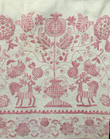 18th century Hungarian embroidered pelmet pink on white linen
