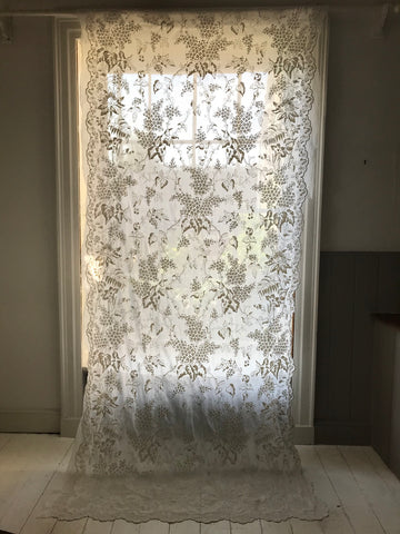 antique cornelli lace chateau curtain hand embroidered C19th