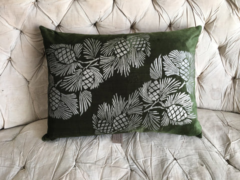 silk velvet pine needle green cushion with silver stencil pine cones C1900/10
