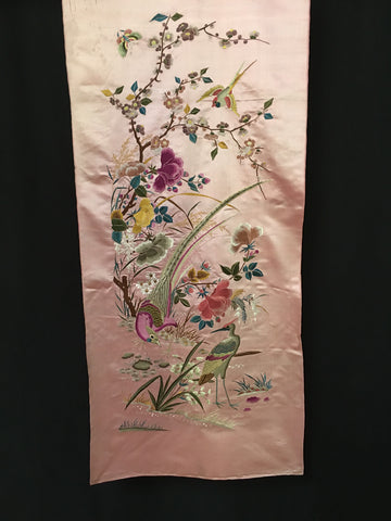 chinese silk embroiderd hanging pink with birds C19th