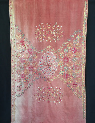 mirrored antique wedding shawl, Sind, Pakistan C19th faded pinks