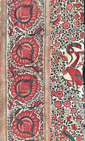 block print fragment in palampore style coromandel coast,india
