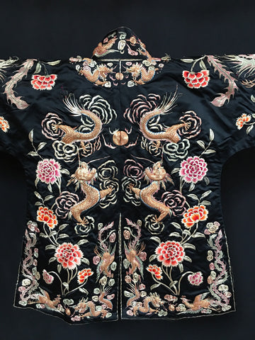 chinese gilt and silk embroiderd stumpwork childs ceremonial jacket
