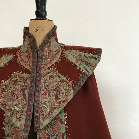 embroidered antique Kashmir cape with figures C19th