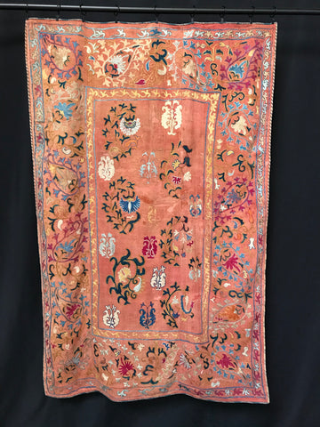 antique suzani, uzbekistan dark apricot with blue cream hand embroidery