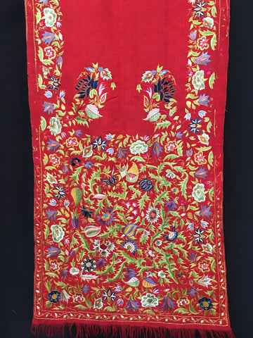 delhi shawl or sash red hand embroidery C19th