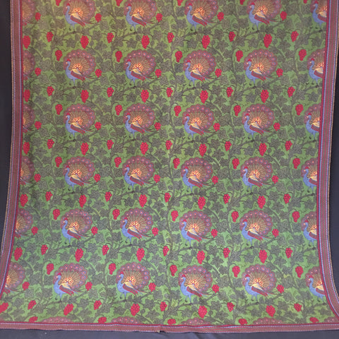 Arts and Crafts Peacock block print bedcover hanging