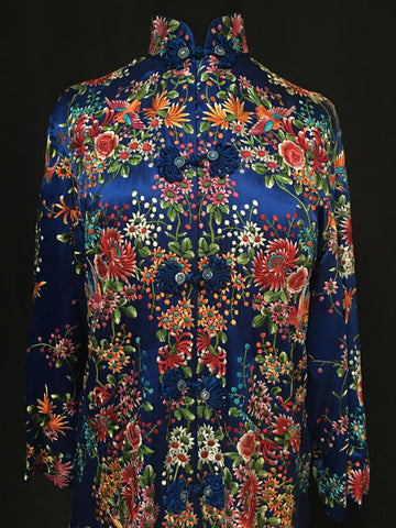 Electric Blue Silk Satin Embroidered Ladies Coat Circa 1920s