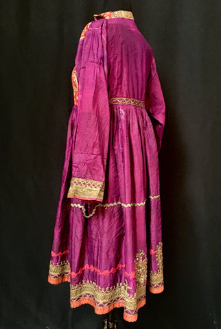 Woman's  Embroidered & Quilted Silk Dress Eastern Afghanistan late 19th century