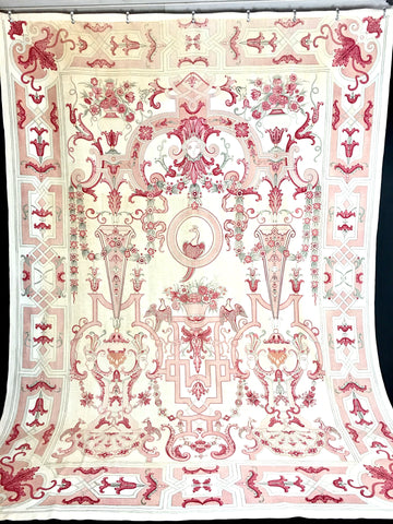 large blockprint Italian chintz hanging C18th/ C19th