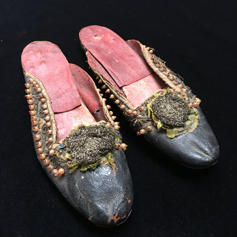 Pair of ladies beaded and embroidered slippers: India first half 19th century