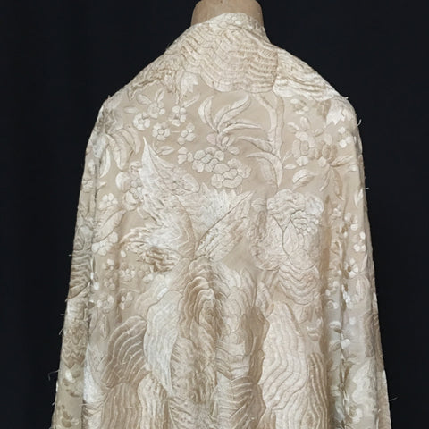Chinese Heavily Embroidered Cream Silk Piano Shawl