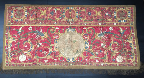 17th Century Silk Embroidered and Appliqué Hanging