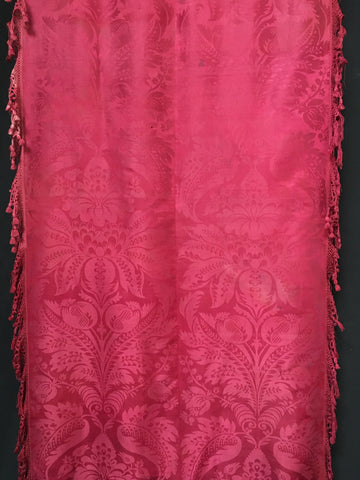 Magenta Silk Brocade Table or Alter Cover with Tassles