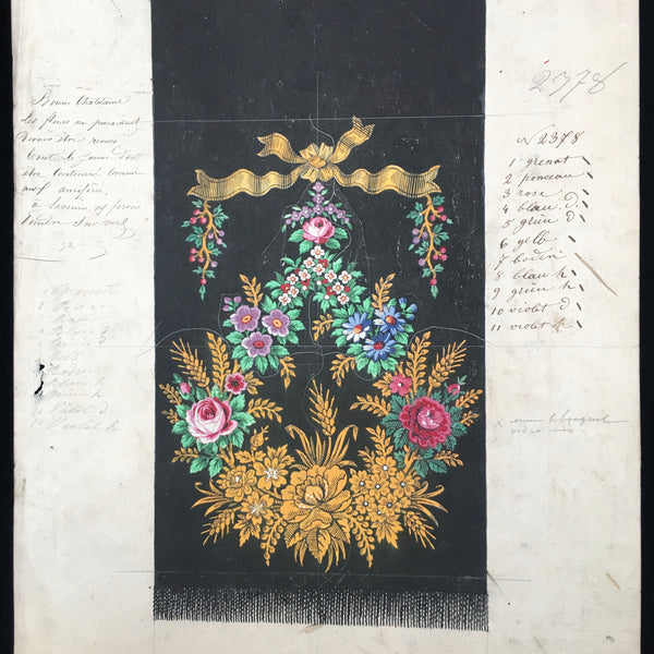 French C19th Hand Painted Design for Textile Developement