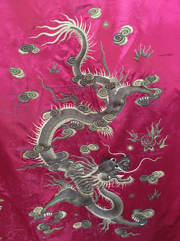 chinese embroiderd antique hanging textile C19th