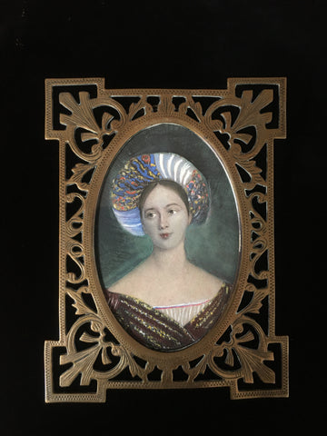 Early 19th Century Miniature Watercolour Portrait: Lady in Oriental Costume