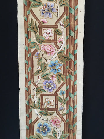 Hand Painted Chinoiserie Silk Panel or Border