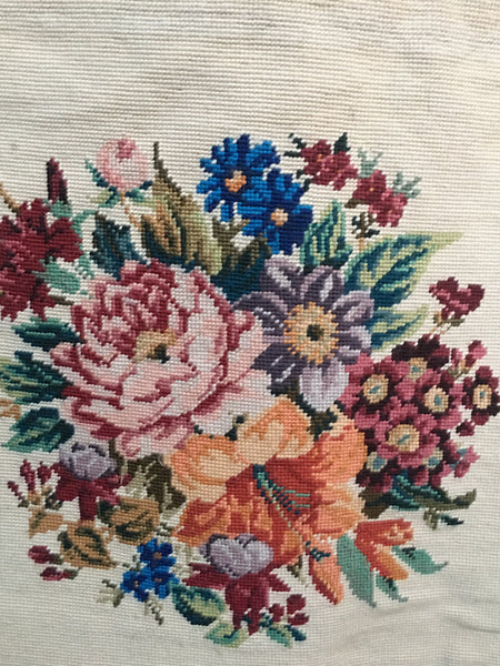 English Floral Needlepoint Wool Rug or Wall Hanging circa 1930