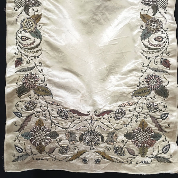 Antique Asian Silver Thread Zardozi Embroidered Panel