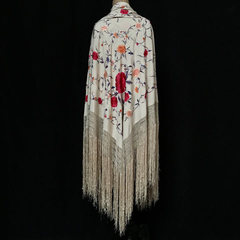 Cream Silk Embroidered Piano Shawl circa 1920