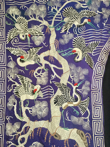 Huge Antique Chinese Silk Embroidered Tree of Life Hanging C1900